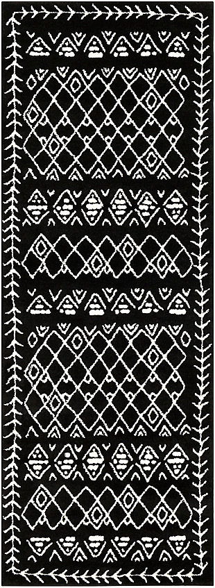 "Kids Area Rug 2'7"" x 7'3"", Black/Cream, large"