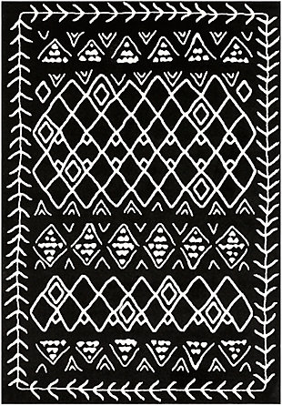 Kids Area Rug 5'3 x 7'3, Black/Cream, large