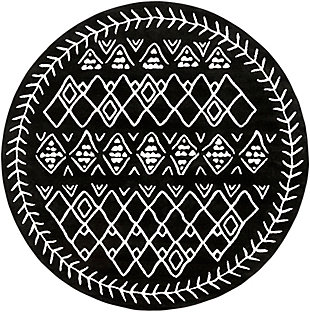 "Kids Area Rug 7'10"" Round, Black/Cream, large"