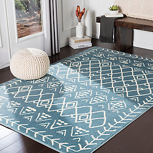 Kids Area Rug 5'3 x 7'3, Denim/Cream, rollover