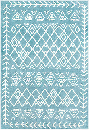 Kids Area Rug 5'3 x 7'3, Denim/Cream, large