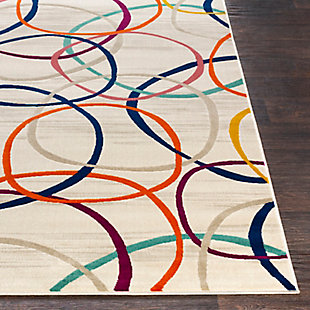 Kids Area Rug 5'3 x 7'7, Mustard/Navy/Bright Pink, large