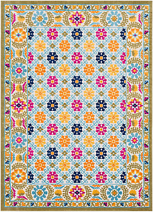 Kids Area Rug 5'3 x 7'3, Aqua/Bright Yellow/Navy, large