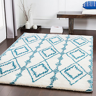 """Kids Area Rug 5'3"""" x 7'6"""", Teal/White, rollover"""
