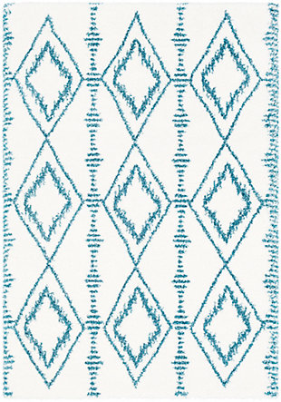 """Kids Area Rug 5'3"""" x 7'6"""", Teal/White, large"""