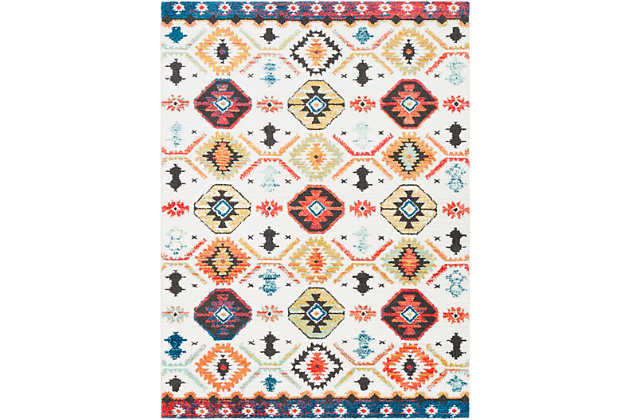 "Kids Area Rug 5'3"" x 7'3"", Aqua/Bright Pink/Yellow, large"