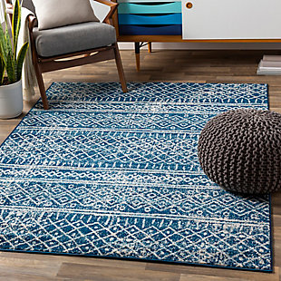 Kids Area Rug 5'3 x 7'3, Denim/Aqua/Cream, rollover