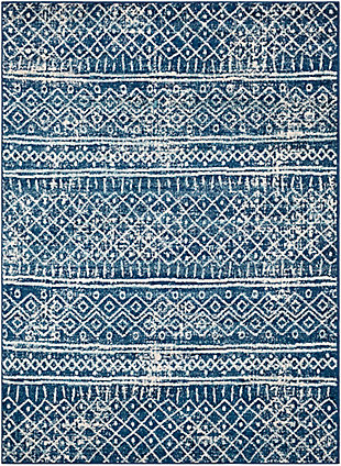 "Kids Area Rug 6'7"" x 9', Denim/Aqua/Cream, large"