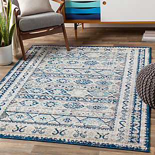 "Kids Area Rug 6'7"" x 9', Denim/Ash Gray/Aqua, rollover"