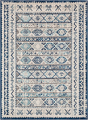 Kids Area Rug 5'3 x 7'3, Denim/Ash Gray/Aqua, large
