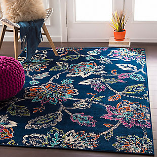Kids Area Rug 5'3 x 7'9, Navy/Fuchsia/Orange, rollover
