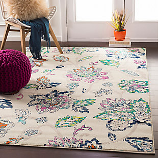 Kids Area Rug 5'3 x 7'9, Cream/Teal/Fuchsia, rollover