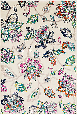 Kids Area Rug 5'3 x 7'9, Cream/Teal/Fuchsia, large