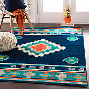 Kids Area Rug 5'3 x 7'9, Navy/Teal/Bright Orange, rollover