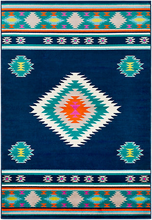 Kids Area Rug 5'3 x 7'9, Navy/Teal/Bright Orange, large
