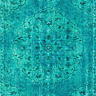 Kids Area Rug 5'3 x 7'3, Emerald/Teal/Denim, large