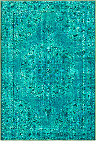 Kids Area Rug 5'3 x 7'3, Emerald/Teal/Denim, large