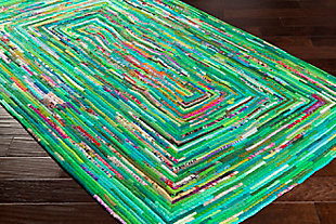 Kids Area Rug 6' x 9', Emerald/Aqua/Blush, rollover