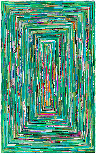 Kids Area Rug 6' x 9', Emerald/Aqua/Blush, large