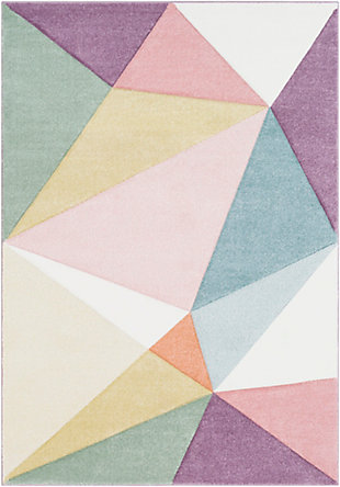 Kids Area Rug 5'3 x 7'7, Rose/Mauve/Sage, large