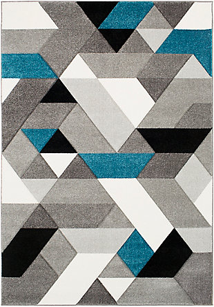 Kids Area Rug 5'3 x 7'7, Teal/Charcoal/Black, large