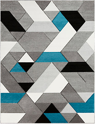 "Kids Area Rug 7'10"" x 10'2"", Teal/Charcoal/Black, large"