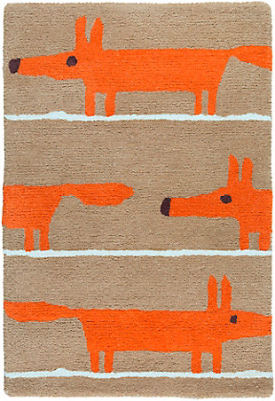 Kids Area Rug 2' x 3', Orange/Chocolate/Ivory, large