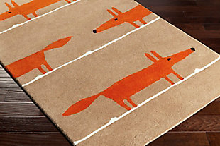Kids Area Rug 3'3 x 5'3, Orange/Chocolate/Ivory, rollover