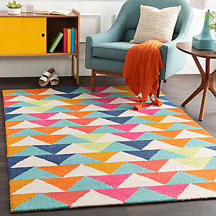 Kids Area Rug 5' x 7'6, Bright Pink/Navy/Orange, rollover