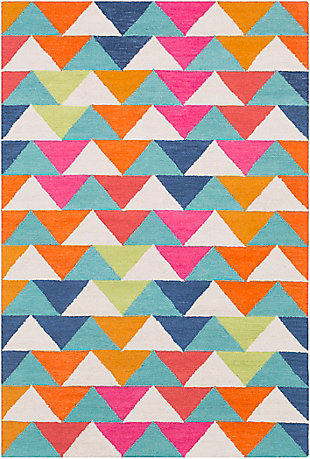"Kids Area Rug 5' x 7'6"", Bright Pink/Navy/Orange, large"