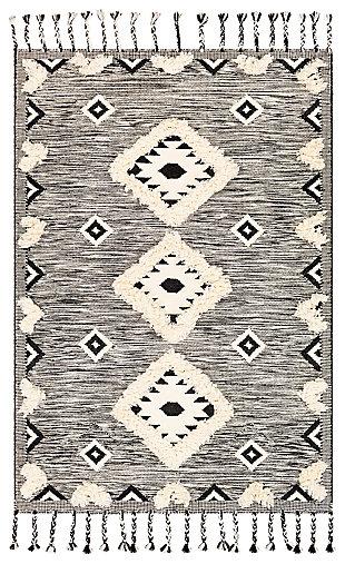Machine Woven 8' x 10' Area Rug, Cream/Ash/Black, large