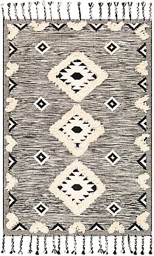 Machine Woven 8' x 10' Area Rug, Cream/Ash/Black, rollover