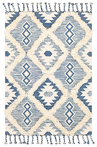 Hand Woven 8' x 10' Area Rug, Denim/Cream, large