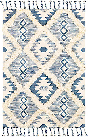 Hand Woven 8' x 10' Area Rug, Denim/Cream, rollover