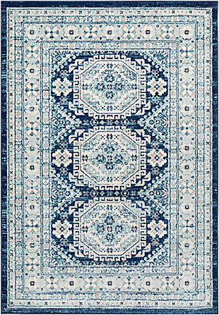 "Machine Woven 7'10"" x 10'3"" Area Rug, Demin/Navy/Ash, rollover"