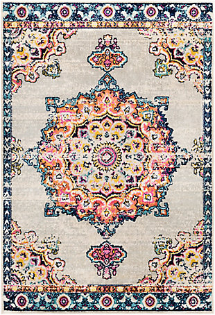"Machine Woven 7'10"" x 10'3"" Area Rug, Burnt Orange/Khaki/Aqua, large"