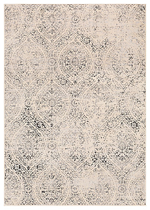 "Machine Woven 6'7"" x 9' Area Rug, Charcoal/Wheat/Ash, large"