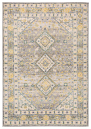 "Machine Woven 7'10"" x 10' Area Rug, Saffron/Cream/Charcoal, large"