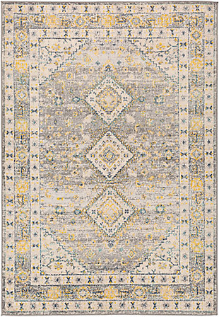 "Machine Woven 7'10"" x 10' Area Rug, Saffron/Cream/Charcoal, rollover"