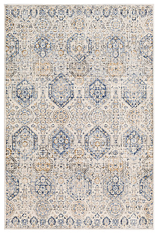 "Machine Woven 7'10"" x 10'2"" Area Rug, Denim/Cream/Ash, large"