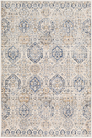 "Machine Woven 7'10"" x 10'2"" Area Rug, Denim/Cream/Ash, rollover"