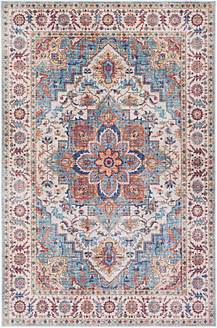 Traditional Welch Area Rug, Navy/Ivory/Dark Red, rollover