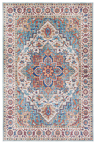 Traditional Welch Area Rug, Navy/Ivory/Dark Red, large