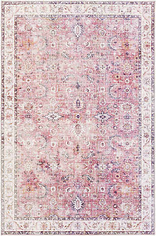 "Machine Woven 7'6"" x 9'6"" Area Rug, Garnet/Mauve/Ivory, rollover"