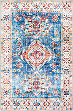 Contemporary Welch Area Rug, Ice Blue/Ivory/Mauve, rollover