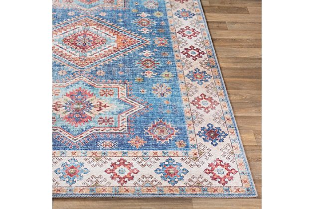 Contemporary Welch Area Rug, Ice Blue/Ivory/Mauve, large