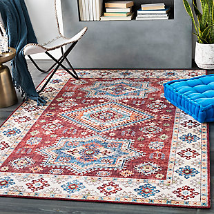 Contemporary Welch Area Rug, Dark Red/Ivory/Mauve, rollover