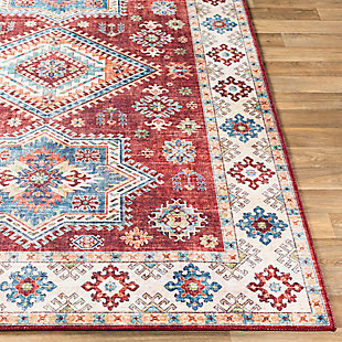 Contemporary Welch Area Rug, Dark Red/Ivory/Mauve, large