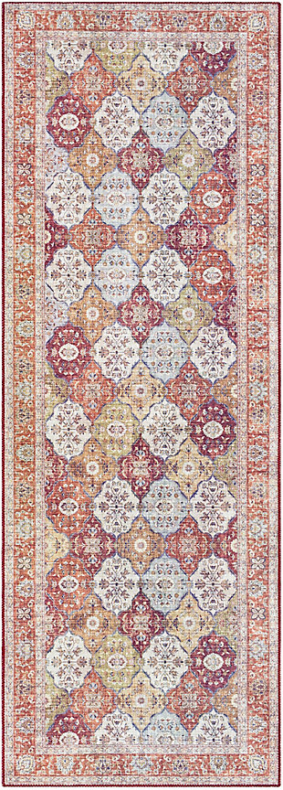 Woven Welch Area Rug, Carmel/Garnet/Ivory, large