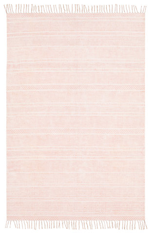 Machine Woven 8' x 10' Area Rug, Coral/Khaki, large